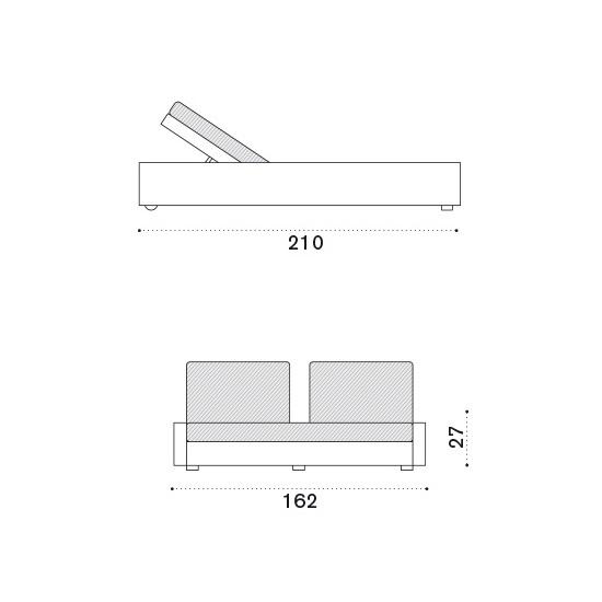 ETHIMO Cube Sunbed Doppel-Gartenliege