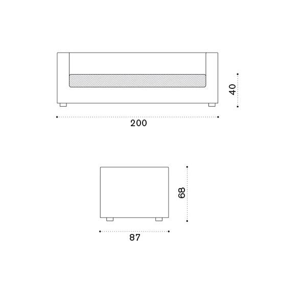 ETHIMO Cube 3-Sitzer Loungesofa