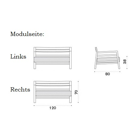 ETHIMO Costes Lounge Seitenmodul