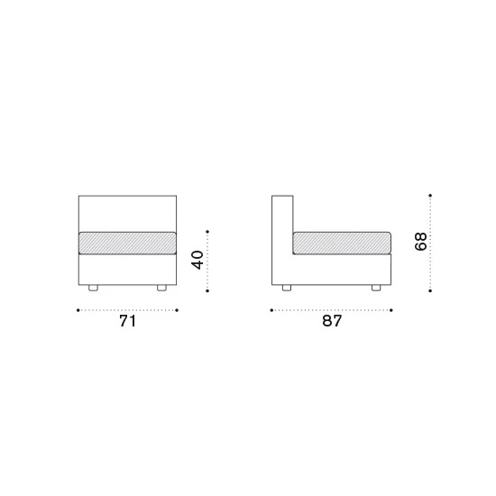 ETHIMO Cube Lounge Mittel-Modul