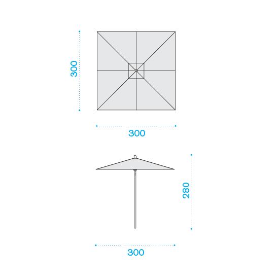 ETHIMO Classic Sonnenschirm quadratisch