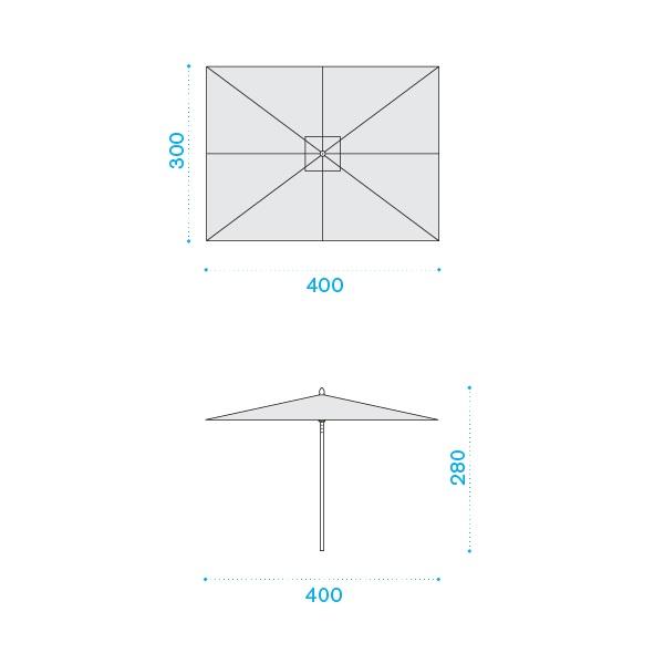 ETHIMO Classic Sonnenschirm 4x3 m