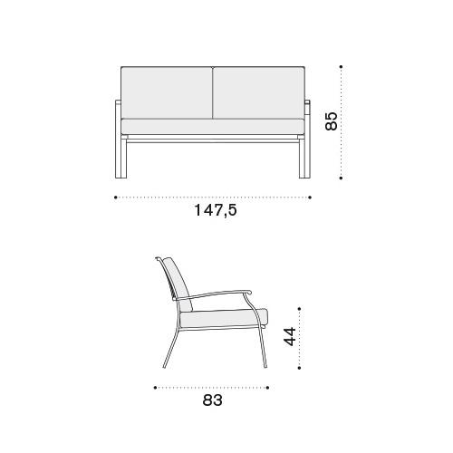 ETHIMO Elisir 2-Sitzer Loungesofa